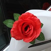 Decorative Flowers & Wreaths Artificial Flower Wedding Car Decor With Silk Ribbons White Red Rose Human Made Head For Door Handle Mirror