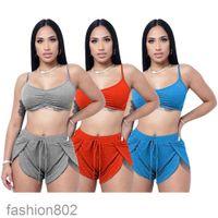 2021 Fashion Loisirs Yoga Ensembles de deux pièces Femmes Sports Status Sans manches Vest Shorts Fitness Yoga Pantalon Summer Gym Set Fashion802