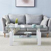 Oturma odası mobilya kahve 110 * 60 * 45.5 cm çift camlı yemek paslanmaz çelik masa ayakları