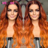 Spitze Perücken Ombre Orange Ingwer farbig Brasilianisch Body Wave Teilen Menschliches Haar vorgeptet für schwarze Frauen Remy