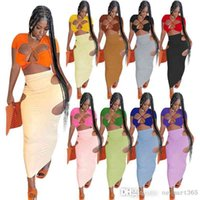 Sexy Women Maxi Dresses Designer Two Piece Set Skirt Suit Drawstring Stitching Hollow Long Summer Dress