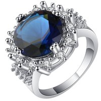 Wedding Rings UFOORO Luxury Royal Blue Crystal Zircon Finger Ring For Woman Female Engagement White Gold Gift Bague