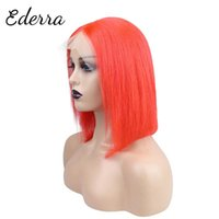 Lace Wigs Human Hair Bob 13x4 Closure Pre Plucked Blunt Cut 10-14inch Straight 150 Density Front Wig For Black Women Red