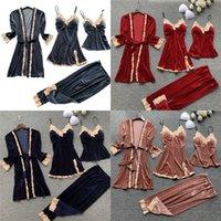 الخريف 4 أجزاء النساء منامة مجموعات ثوب رداء النوم المخملية نوم بيجامة حزام النوم صالة مجموعة بيما مع وسادة الصدر 735 K2