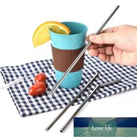 3pcs Stainless Steel Straw Set 1 Brush 1 Bends Pipe Elbow 1 Straight Tubes Home Drinking Tableware Kitchen Tools Bar