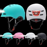 Riding Helmet W FrontWarning Lights Kids Adult Bicycle Electric Car Scooter M-L Cycling Helmet Cycling Safely Cap Q0630