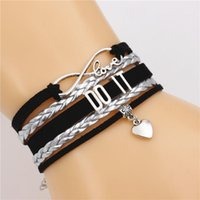 Tennis DO IT Multi-layer Bracelet Infinity Love Cute Heart Charm Handmade Leather Bracelets PUNK Encourage Jewelry For Boyfriend Hero