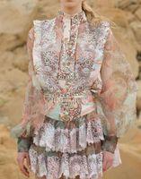 Yeni Kadın Pist Elbiseleri Standı Yaka Uzun Kollu Gömlek Tops Fırfır Etek Milano Pisti Elbise Yüksek Kalite Iki Parçalı Setleri Parti Elbiseler E48