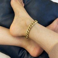 In acciaio inox punk in acciaio inox cavigliera cubana catena di collegamento cubano per le donne sexy braccialetto grosso caviglia a catena della gamba giapponese gioielli da spiaggia 263 T2