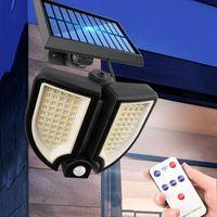 Lampade solari Thrisdar Remote Control Wall Light 90 LED PIR Motion Sensor Spotherlight esterna Giardino Balcone Street