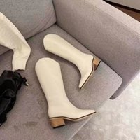 designer boots Knee Boot Women pointed toes Matt Leather winter Warm skid Work Safety Square heel fashion shoes womens High quality wholesale