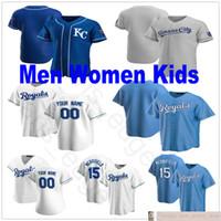 Custom 2020 Homens Mulheres Juventude Baseball 5 George Brett 4 Alex Gordon 13 Salvador Perez 15 Whit Merrifield Stitched Kids Jerseys
