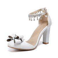 Dress Shoes YIHONGMEIQI Women's White High Heels 10 Cm Wedding Sexy Bridal Bow Single Fringe Buckle Party Sandals