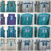 Charlotte # 2 Lamelo Ball Jersey Hornets Muggsy 1 Tyrone Bogues 2 Larry Johnson 30 Dell Curry Alonzo 33 Trauer Retro Basketballtrikots