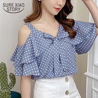 Мода женская одежда женские летние блузки 2021 с коротким рукавом точка шифон женская блузка рубашка V-образным вырезом от полблюда топ 3416 50 210315