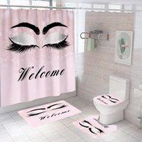 Shower Curtains Eyeshadow Printed Bathroom Curtain Flannel Toilet Lid Cover Anti-Slip Soft Carpet Bath Mats Set