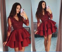 Cheap Short Mini Dark Red A Line Cocktail Dresses V Neck Lace Applique Beaded Long Sleeves Tiered Ruffles Satin Homecoming Party Prom Gowns