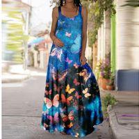 Casual Dresses Vintage Summer Butterfly Print Dress Women Super Oversized Boho Clothes Beach Sleeveless Long Plus Size R5