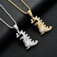 Полный бриллиант маленький динозавр ожерелье кулон Золото Серебряный мужской мужской хип-хоп из золотой цепи цепи теннисной цепи