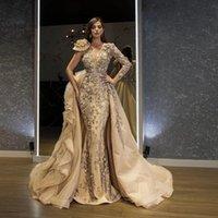2021 Champagne Floral Bead Evening Dresses Vestido De Festa Saudi Arabic With Detachable Skirt Sleeve Applique Prom Party Gowns robe soiree
