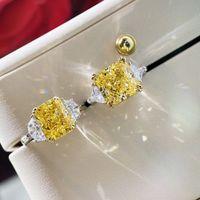 S925 الفضة الشرير الدائري مع الأصفر والأبيض الماس للنساء الزفاف والمشاركة مجوهرات هدية شحن مجاني PS4099