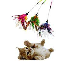 Pet Gato Brinquedos Papel Espiral Colorido Pena Stick Gato Engraçado Brinquedo Teaser Sticks Tease