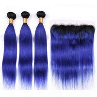 مستقيم الهندي العذراء الشعر البشري الأزرق الداكن أومبير ينسج مع أمامي # 1b الأزرق الداكن الجذر أومبير 13x4 الرباط أمامي إغلاق مع 3 حزم
