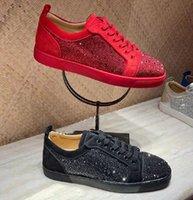 مثالية الشتاء ماركات منخفضة أعلى الصغار strass الرجال الأحمر أسفل الأحذية النسائية الرياضة حزب اللباس عارضة الراحة زوجين حبيب المشي EU35-47