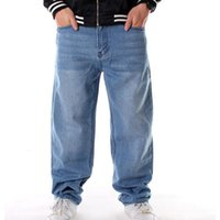 Men's Jeans Men loose jeans hiphop skateboard baggy pants denim hip hop men ad rap Plus size EJ1I