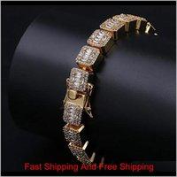 Braccialetto di diamanti di Diamonds Diam Diamonds in oro 14k con braccialetti da 10mm Bling Blaccialetti con chiusura a chiave Braccialetti zirconi cubici Hip hop, 44 g ffd8c hrsyx