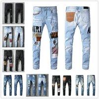 Nova moda legal casual de alta qualidade homens jeans buracos vintage calças jeans afligidas rasgadas motociclista slim fit motocicleta motociclista denim para homens