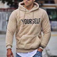 Новая осень и зимняя теплая мужская шерстяная толстовка с капюшоном Письмо Печать с капюшоном пуловер кангару карманные флисовые кофты