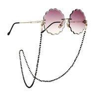 Nuevo Vintage Hecho a mano con perlas de cristal negro Gafas de gafas Collar de la correa Mujeres Reading Gafas de sol Cadena Correa Gafas Accesorios