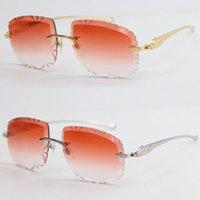 Serie Panther Gafas de sol de metal cuadradas cuadradas grandes de 18k marco de oro LUNNETES Masculinas y femeninas Gafas de conducción Cut Top Lens