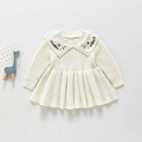 Girl's Dresses Bear Leader Baby Girl Christmas Knitted Winter Fashion Flower Embroidery Princess Party Costumes Infant Knitting Clothes