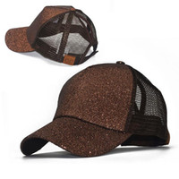 2021 패션 스팽글 형광 야구 모자 후면 열기 포니 테일 야구 모자 반짝이 메쉬 모자