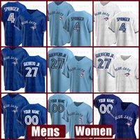 2021 토론토 새로운 블루 제이스 야구 유니폼 사용자 정의 27 블라디미르 Guerrero Jr. Mens 4 조지 스프링 여성 11 조지 벨 29 조 카터 Alomar