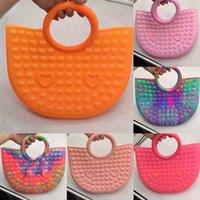 Big Size Push Bubble Rainbow Bag Fidget Toy Sensory Speelgoed Meisje Siliconen Handtas Portemonnee Gift
