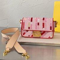 Mulheres Crossbody Bags Meio Antigo Baguette Bag F Bolsa Bolsa De Ombro Retro Flores Velhas Com Dois Ombro Strap Color Letras FF