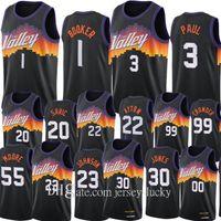 Üst 2021 Güneşler Erkekler Chris Paul Devin Booker Basketbol Formaları Deandre Ayton Swingman Şehir Jersey Siyah Üniforma Kalabalık Sarık Köprüler JALEN Smith Johnson Carter Giyim
