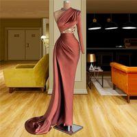 Elegante One Shoulder Crystal Long Mermaid Prom Party Jurken 2021 Plus Size Dubai Arabische Avondjurk Vestidos de Fiesta