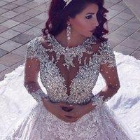 Arabic Luxury Dubai Beading Long Sleeve Muslim Wedding Gowns With Long Train Sequined Lace Wedding Dresses Turke Robe De Mariage