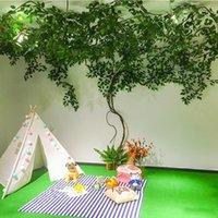 Dekoratif Çiçekler Çelenk Yapay Bitki Yaprakları Asma Dokuma Düğün Bahçe Yeşilleştirme Yeşil Yanlış Ağaç Yaprak Kapalı Ev Dekorasyon