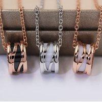 Мода дизайнер ювелирные изделия римские цифры керамические кулон ожерелья розовое золото из нержавеющей стали мужские женские ожерелье любовь с подарочной сумкой