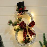 Светодиодный свет Рождественская гирлянда орнамент Rattan Hoop Домашняя вечеринка Украшения Xmas Tree Подвеска Новый год Декоративные GWF9789