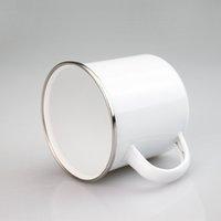 DIY Sublimation Emaille Kaffeetasse 12 Unzen Stahlbecher Durable Travel Email Getränke Tassen mit Nostalgie Sea Shipping LLA341