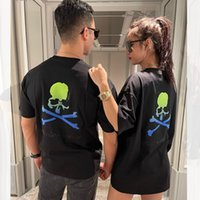 Fashion 2021 Outlet Ins skull head hot drill t-shirt men's and women's same MMJ brand high-end mercerized cotton loose short sleeve shirt summer fashion