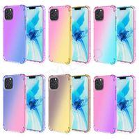 Renkli Darbeye Dayanıklı Telefon Kılıfları iPhone 13 12 11 Pro Max XS XR X SE 7 8 Artı Degrade Gökkuşağı Yumuşak TPU Tampon Koruyucu Kılıf