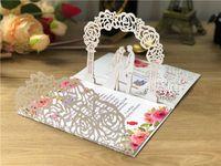 10pcs / lot 3D 초대 포켓 폴드 결혼식 초대 카드 세 접이식 카드 레이저 컷 포켓 인사말 초대장 커버 파티