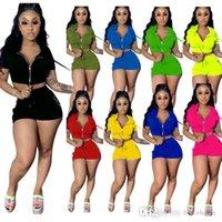 Frauen Zwei Stück Set Solide Farbe Mode Mit Kapuze Reißverschluss Top Shorts Jogging Anzug Club Casual Kurzarm Tight Hosen Sport Outfits 877